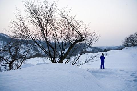 雪におおわれた棚田